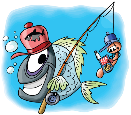 Cartoon fish character goes fishing together with his worm friend sitting on the hook and reading a magazine vector illustration