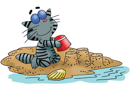 Cartoon cat building sand castles on the beach vector illustration Ilustrace