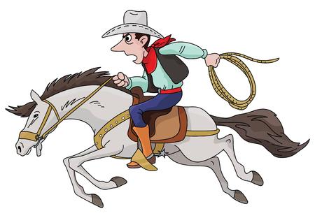Cowboy del fumetto che monta il suo cavallo veloce illustrazione vettoriale