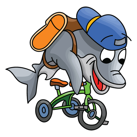 Cartoon dolphin character riding a tricycle going to school vector illustration Illusztráció