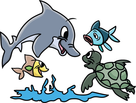 Cartoon sea animals playing in water vector illustration Ilustração