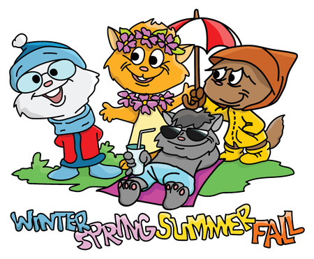 Cartoon cats dressed for winter, summer, spring and fall vector illustration