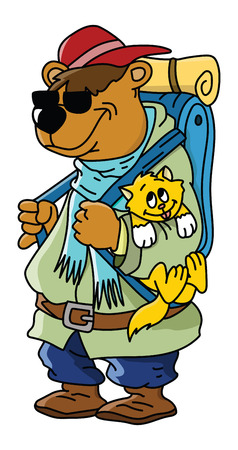 Cartoon brown bear goes to camping with his cat friend vector illustration
