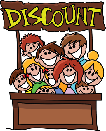 Cartoon people smiling behind a counter happy because of the discount vector illustration