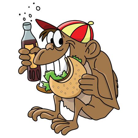 Cartoon monkey eating hamburger and drinking cola vector illustration