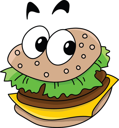 Cartoon delicious ready to eat  cheeseburger looking at camera vector illustration Ilustrace