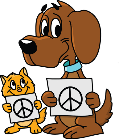 Cartoon cat and dog holding cards with peace symbols on vector illustration