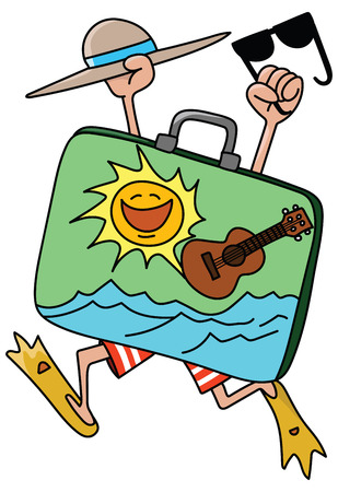 cartoon man wearing flippers holding his hat and sun glasses going on a vacation vector illustration