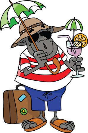 Cartoon gorilla on vacation drinking cocktail vector illustration