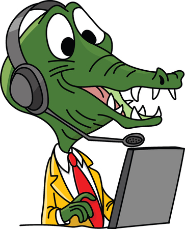 Cartoon alligator character call center employee working with a headset on his head vector illustration