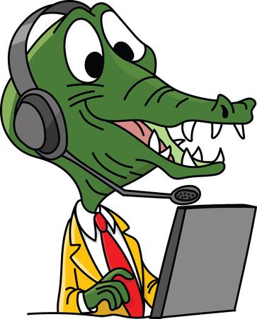 Cartoon-Alligator-Charakter-Call-Center-Mitarbeiter, der mit einem Headset auf seiner Kopfvektorillustration arbeitet