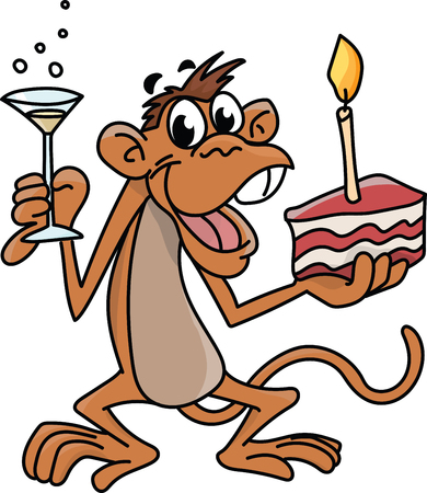 Cartoon monkey holding a birthday cake with one hand and a glass full of champagne with other, celebrating birthday vector illustration