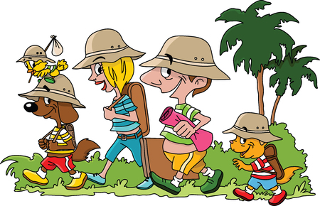 Cartoon family going on a vacation with their cat dog and bird vector illustration Foto de archivo - 121018184
