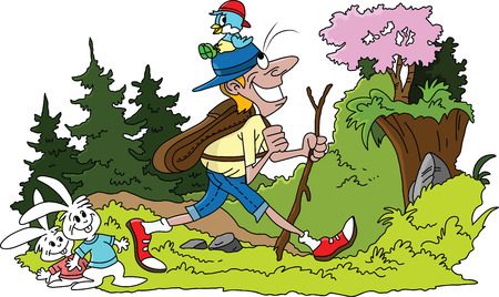 Cartoon man hiking in the forest vector illustration Ilustrace