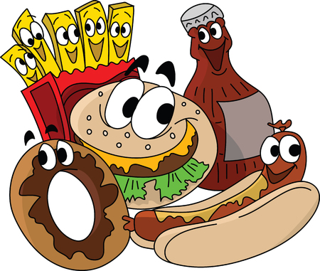 Cartoon fast food character designs, cheeseburger, french fries, donut and cola vector illustration