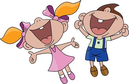 Niño y niña de dibujos animados feliz saltando en la ilustración de vector de aire