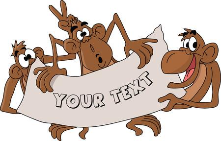 Cartoon monkeys holding a banner in their hands vector illustration Ilustrace
