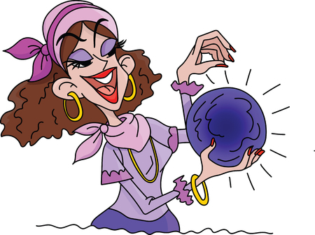 Cartoon fortune teller holding a crystal ball in his hands vector illustration Illustration