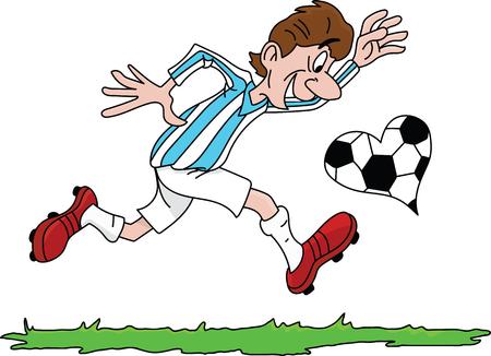Cartoon man playing football with a heart shaped soccer ball vector illustration