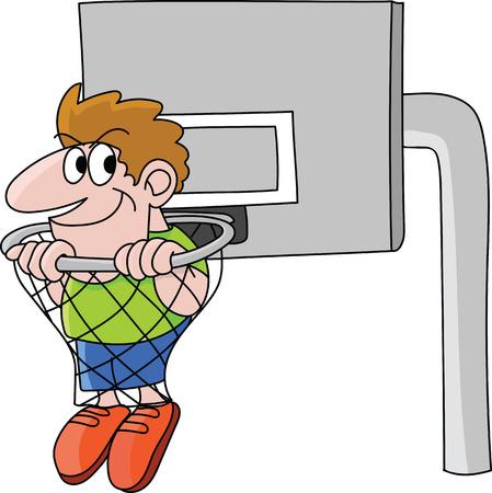 Cartoon basketball fan man sitting inside of a basketball hoop vector illustration Ilustrace