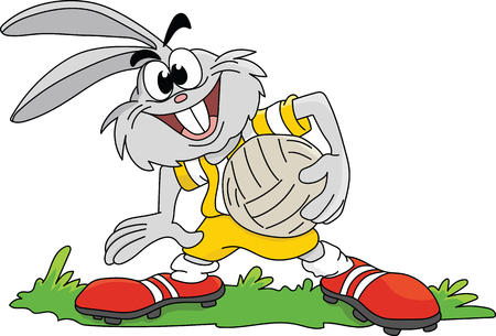 Cartoon rabbit holding a soccer ball in his hands ready for the game vector illustration