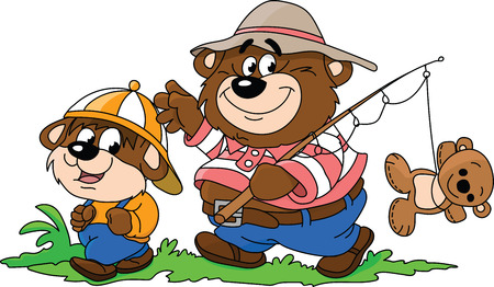 Cartoon bears, father and son, going to fishing to spend some time together vector illustration