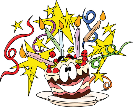 Cartoon happy birthday cake decorated with candles stars and ribbons vector illustration