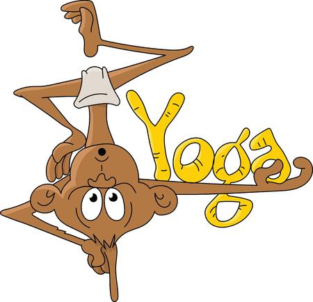 Cartoon monkey doing yoga vector illustration