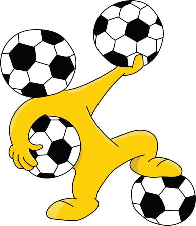 Soccer ball headed cartoon mascot holding balls vector illustration