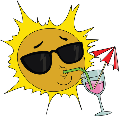 Cartoon sun mascot wearing sun glasses and drinking cocktail vector illustration