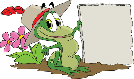 Cartoon frog holding a blank stone tablet in his hands vector illustration