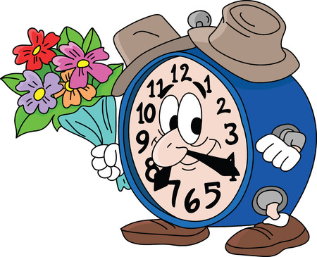 Cartoon clock holding a bouquet of flowers going on a date with his girlfriend vector illustration