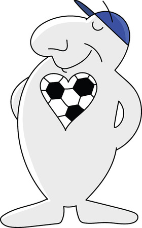 Cartoon sports mascot with a heart shaped ball on his chest vector illustration