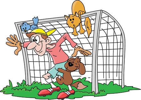 Excited cartoon goalkeeper waiting the shot with his pet friends vector illustration