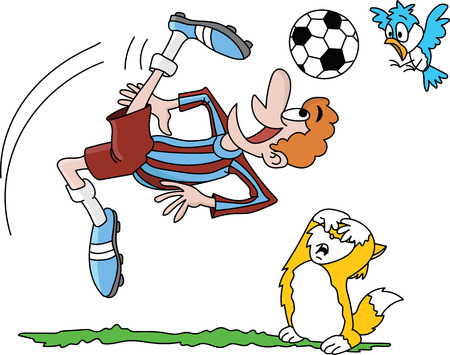 Cartoon soccer player taking a reverse shot while his pet friends watching anxiously vector illustration