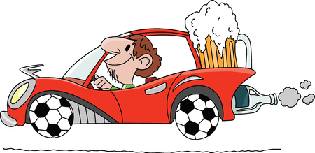 Cartoon man driving a car with wheels made of soccer balls and carrying a big glass of beer behind vector illustration