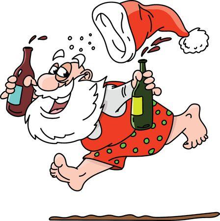 Cartoon drunk Santa Claus running without clothes vector illustration Ilustração