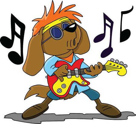 Brown cartoon dog playing electronic guitar and singing rock and roll vector illustration