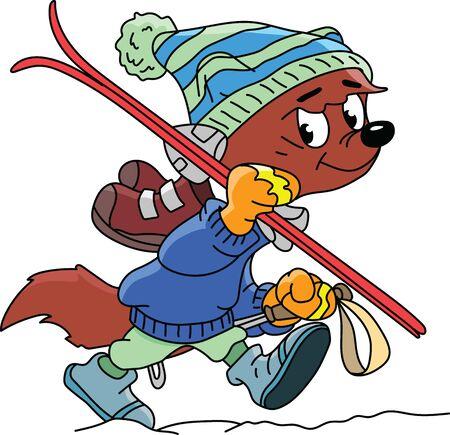 Cartoon fox goes skiing vector illustration Ilustracja