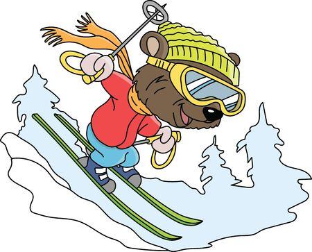 Cartoon bear skiing down the hill vector illustration
