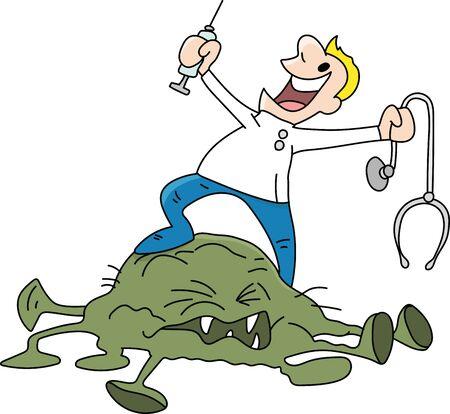 Doctor defeats coronavirus cartoon vector illustration