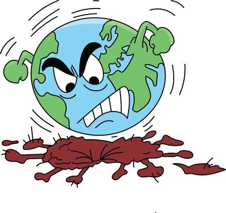 dangerous and infectious corona virus cartoon vector illustration