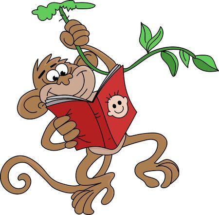 Cartoon monkey hanging reading a book vector illustration  イラスト・ベクター素材