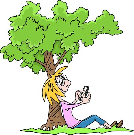Cartoon woman sitting under a tree checking her social media messages on her cell phone vector illustration