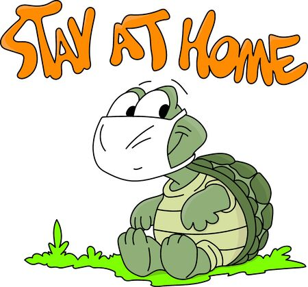 Cartoon turtle sitting inside his shell wearing a protective mask against corona virus vector illustration Vektorové ilustrace