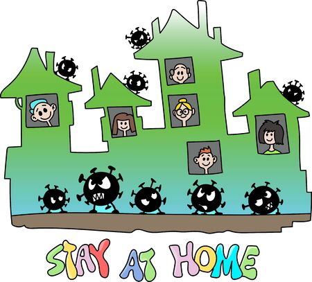 Cartoon people staying at home to be safe from corona virus vector illustration