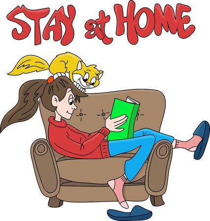 Cartoon girl staying at home with her cat to be safe from corona virus, reading books vector illustration