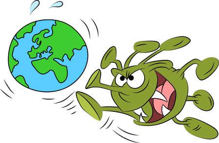 Dangerous and infectious corona virus kicking world's cartoon vector illustration