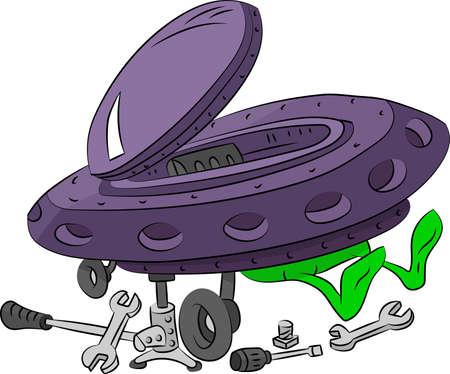 Cartoon alien repairing his spaceship vector illustration