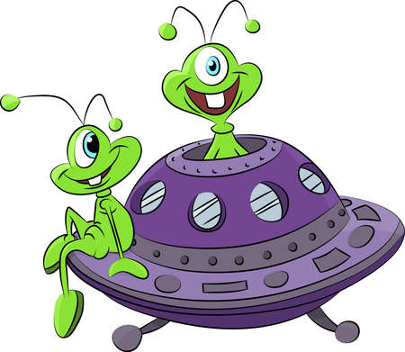 Cartoon aliens traveling with their spaceship vector illustration